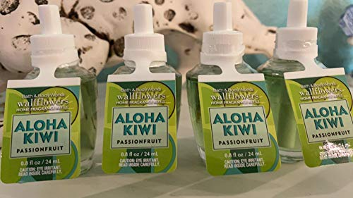 Bath and Body Works 4 Pack Aloha Kiwi Passionfruit Wallflowers Fragrance Refill. 0.8 fl oz.
