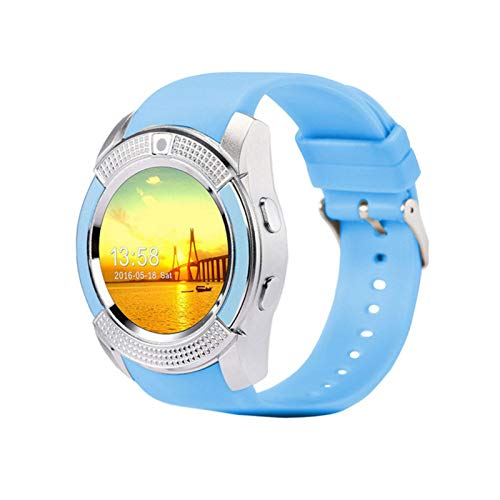 Smart Watch Men Bluetooth Deporte Relojes Mujeres Ladies Rel GIO Smartwatch con Cámara SIM Tarjeta Slot PK DZ09 Y1 A1 (Color : Blue)