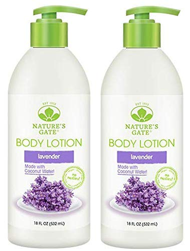 Nature's Gate Lavender Lotion (Pack of 2) with Madonna Lily Bulb Extract, Green Tea Leaf, Coconut Water and Shea Butter, 18 fl. oz.