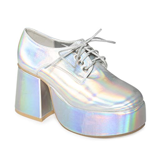 Mens Platform Disco Saturday Night Fever John Travolta Fancy Dress Shoes (Silver, Numeric_11)