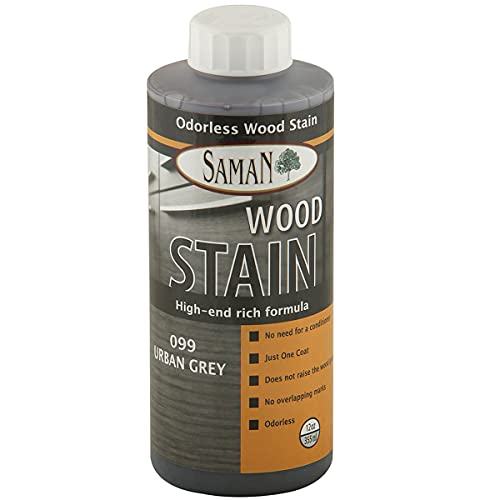 SamaN Interior Water Based Wood Stain & Natural Furniture, moldings, Wood Paneling and cabinets Stain (Urban Grey TEW-099-12, 12 oz)