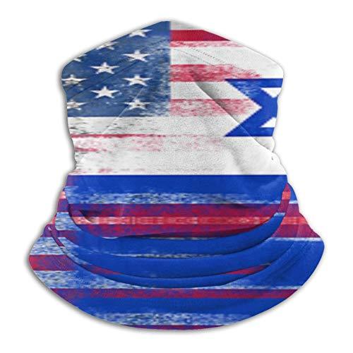 Custom made Polaina de microfibra para el cuello de la bandera de la mitad de Estados Unidos para hombres y mujeres de Israel, cubrebocas elásticas, media máscara, bufanda, bandana para la cabeza