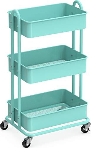 SimpleHouseware Heavy Duty 3-Tier Metal Utility Rolling Cart, Turquoise