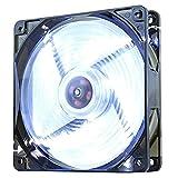 Nox Coolfan -NXCFAN120LW- Ventilador Caja PC 120mm, 9 aspas traslúcidas, rodamientos Larga duración, 4 Leds, silencioso, Conector 3 y 4 Pines, Color Blanco - Negro