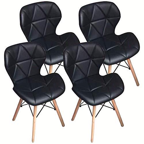 Home Office Esszimmerstühle Set 4, Moderne Stühle aus weichem Leder mit Holzbeinen, Gepolsterte Schwarze Bürostühle Schwarz