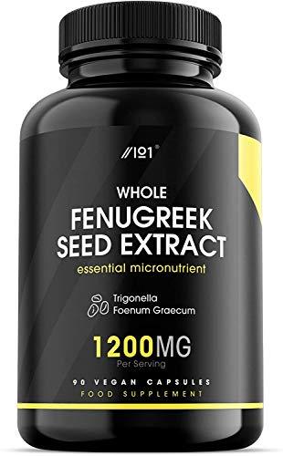 Whole Fenugreek Seed Extract Capsules - 1200mg - Trigonella Foenum Graecum - Non-GMO, Gluten Free, 90 Vegan Caps