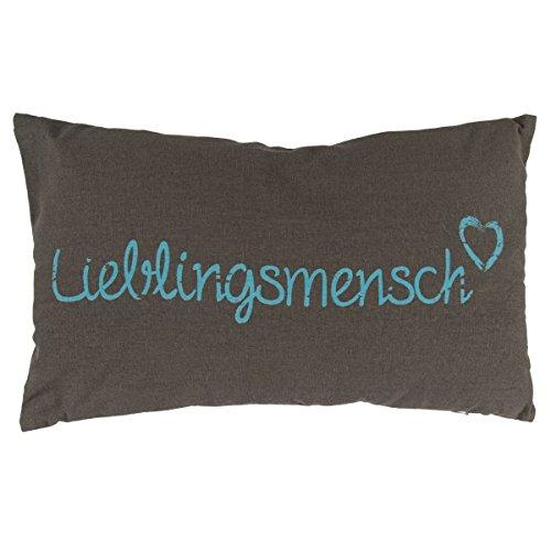 OOTB Kissen Lieblingsmensch, mit blauer Schrift & Reissverschluss, 100% Baumwolle, ca. 30 x 50 cm, 300 g Füllgewicht #190273