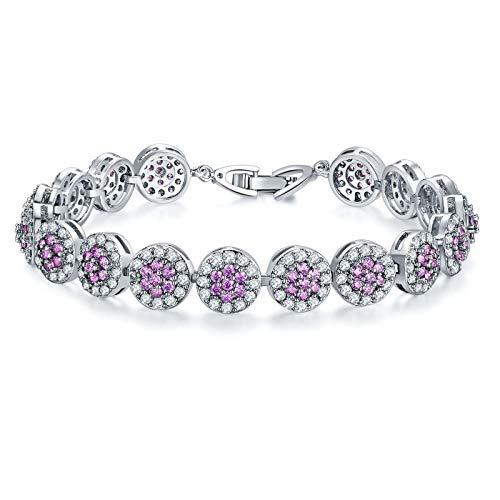 1 pulsera para mujer con circonitas, chapado en platino, para joyas, redondas, accesorios para niñas, color rojo