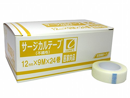 サージカルテープ 不織布 12mm×9m×24巻 1箱(医家向品 医療用) コメス