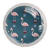 (4 unidades) pomos de cristal para aparador, cajones y armarios con tornillos para cocina, aparador, baño, armario de flamencos con patrón de gorro de Navidad