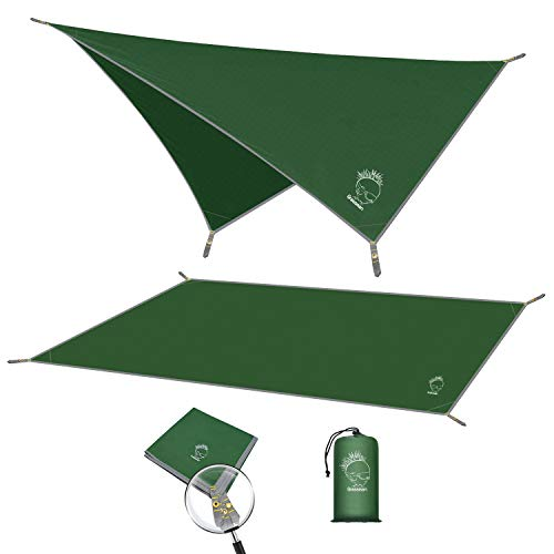 "Camping Tarp, Waterproof Tent Footprint with Carrying Bag, Portable and Compact, Multifunctional Hammock Tarp for Camping, Hiking and Survival Gear, 82""x82"""