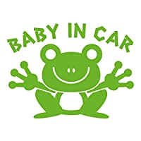 imoninn BABY in car ステッカー 【パッケージ版】 No.22 カエルさん (黄緑色)