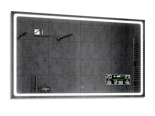 Alasta® Badkamerspiegel met Verlichting - 70x150 cm - Model Houston - Spiegel met Aanraaklichtschakelaar en Weerstation P3