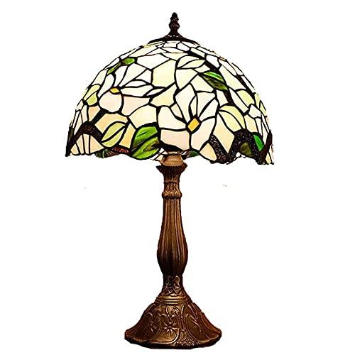GAUUA Lámpara De Mesa Tiffany Vintage Lámpara De Mesilla De Noche De Estilo Rústico Pantallas De Vidrieras De Árbol Verde para La Iluminación del Dormitorio De La Sala De Estar