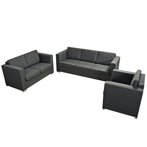 Festnight 3-teilig Sofa Set Couch Loungesofa Wohnzimmersofa Sofagarnitur inkl. Einzel-Sofa, 2-Sitzer-Sofa und 3-Sitzer-Sofa Stoffpolsterung Dunkelgrau