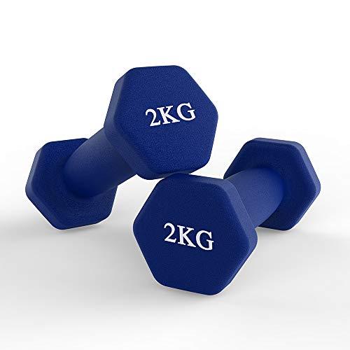 Hex - Set di 2 manubri corti in neoprene, per aerobica, ginnastica e allenamento muscolare (2 kg/blu)