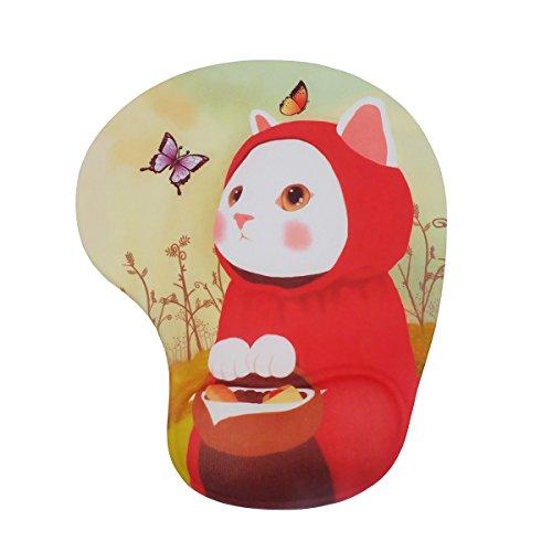 可愛いアニメ動物柄 立体マウスパッド 低反発 疲労軽減 オシャレ 人気なマウスパッド (赤猫)