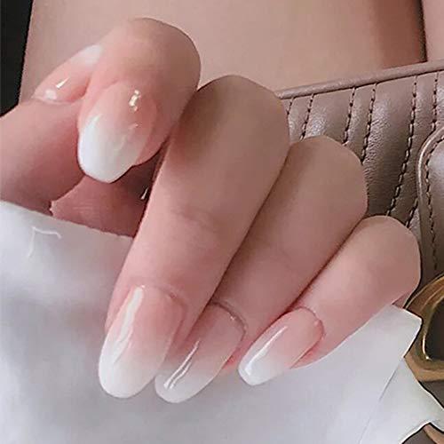 Brishow künstliche Fingernägel Sarg Falsche Nägel Milchweiß Farbverlauf Lange Gefälschte Nägel Ballerina Vollständige Abdeckung Acryl Falsche Nägel 24 Stück für Frauen und Mädchen