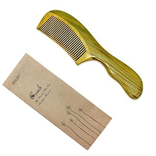 EQLEF® Green sandalo non statico pettine handmade, Pocket pettine, sandalo pettine