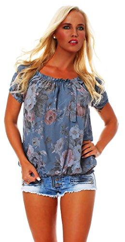 ZARMEXX Damen Bluse Oberteil Shirt Blumenmuster Carmenbluse Kurzarmshirt Viskose *BIG ROSE*, One Size Gr.36-40, Jeansblau