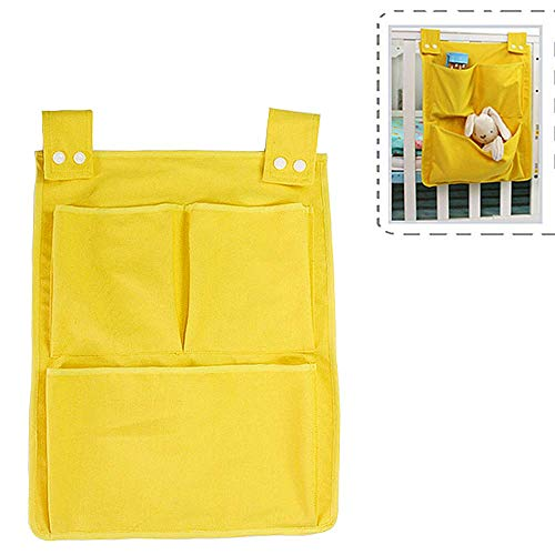 SiyuXinyi Pockets Bedside Storage Bag Caddy Hanging Diaper Organization for Baby Essentials, Hang on Crib, Practical Hanging Storage Bag, Suitable Dormitory, Double Bed, Bedside Storage!(Yellow)