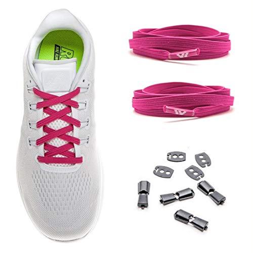 MAXX laces elastische Schnürsenkel flach für alle Schuhe - Schnellverschluss Schnürbänder ohne binden für Damen, Herren, Kinder - Sneaker, Sportschuh, Arbeitsschuh, Trekkingschuh [Pink]