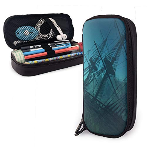 NiYoung Big Capacity Pencil Pen Case Multifunctional Stationery Bag Storage Pouch Holder Box Cosmetic Makeup Bag for Office School Travel (Ocean Shipwreck Underwater Dolphin Ship Mystery Treasure)