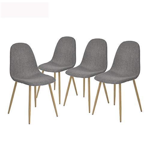 Homy Lin Set de 4 Silla de Comedor Diseño Unico Asiento de Tela Patas de Metal Silla de Cocina Comedor Casa - Gris