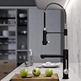 Kraus KPF-1603SFSMB New Artec Pro 2-Function Commercial Style Pre-Rinse Kitchen Faucet with Pull-Down Spring Spout and Pot Filler, Spot Free Finish Stainless Steel/Matte Black, 24.75 inch