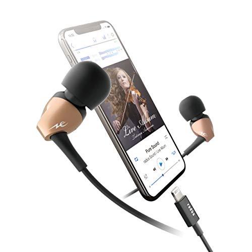 ラディウスradiusiPhone用イヤホンPUREFlat:Lightningコネクタ直結タイプダイナミックドライバーカナル型iOSMFi取得HP-N100LN(ゴールド)