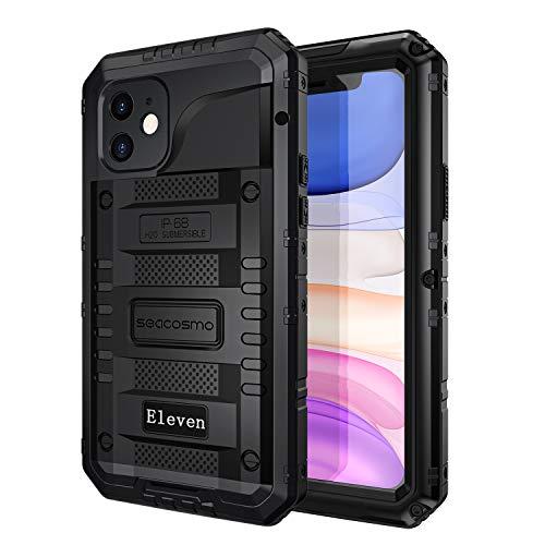 seacosmo iPhone 11 Wasserdicht Hülle, Militärstandard Schutzhülle mit Eingebautem Displayschutz Stoßfest Metall Handyhülle für iPhone 11, Schwarz
