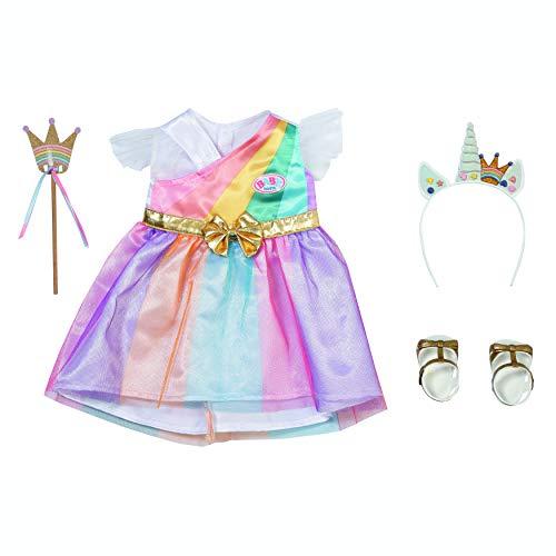 Zapf Creation 830338 BABY born Fantasy Deluxe Prinzessin 43 cm - Puppenkleid in Regenbogenfarben mit Schuhen, Haarreif mit Pins und Zepter
