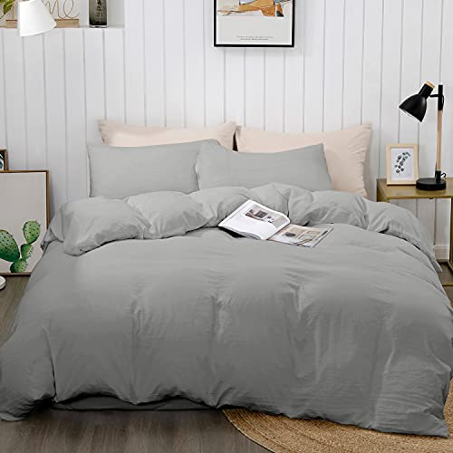 """BEDELITE Duvet Cover King Size, Gray Lightweight Comforter Cover for Summer, Soft Washed Quilt Cover with Zipper Closure - 3 Pieces (1 Duvet Cover 104""""x90""""+ 2 Pillow Shams)"""