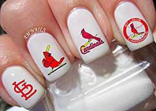 St Louis Cardinals Water Nail Art Transfers Stickers Decals - Set of 50