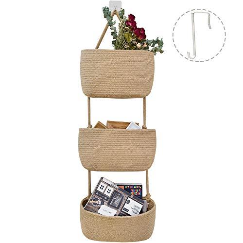 JS HOME Jute Over Door Hanging Basket, 3 Wall Mount...