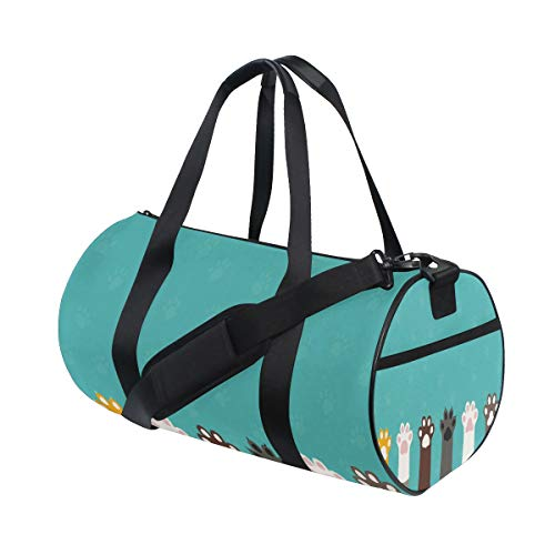 Small Duffle Bag Cute Funny Cat Paw Dog Turquoise Gym Bag Sport Duffel Bag for Women Teen Girls Traveling