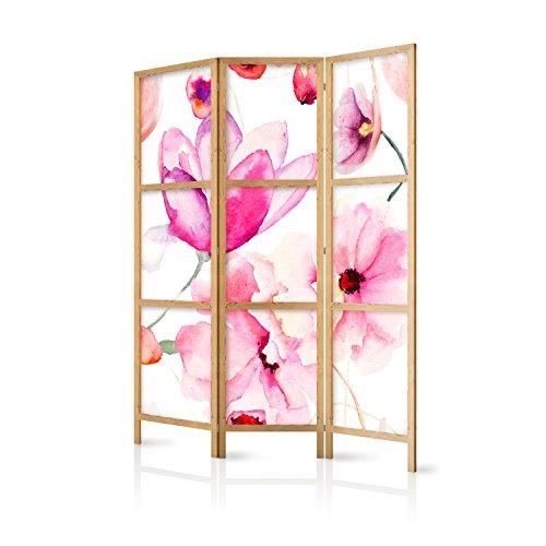 murando - Paravent Blumen 135x171 cm - 3-teilig - einseitig - eleganter Sichtschutz - Raumteiler - Trennwand - Raumtrenner - Holz - Design Motiv - Deko - Japan p-B-0010-z-b