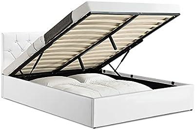 IDMarket - Lit Coffre Austin PVC Blanc avec sommier 160 x 200 CM