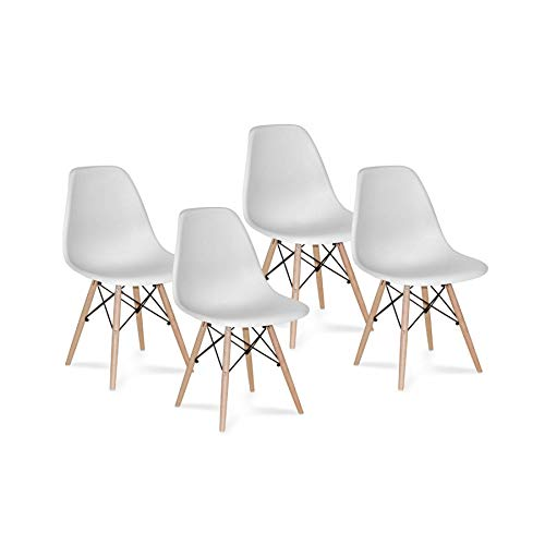 Ventamueblesonline Pack 4 SILLAS Tower Wood Blanca Extra Quality