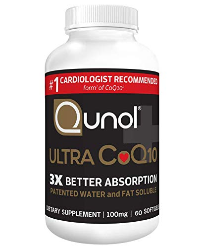 Qunol Ultra CoQ10 100mg, 3x Better Absorption, Patented Water and Fat Soluble Natural Supplement Form of Coenzyme Q10, Antioxidant for Heart Health, 60 Count Softgels