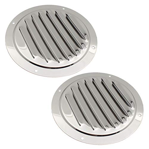 Amadget 5' Round Louvered Air Vent, 316 Stainless Steel Marine Boat Vent Cover, 2 Pcs