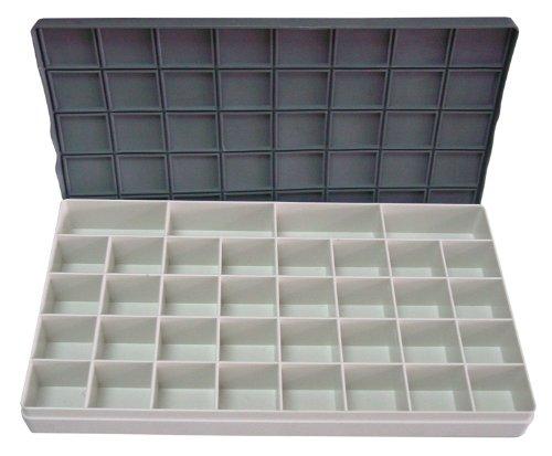 Honsell 52224 - Kunststoffpalette mit Deckel und Fächern, ca. 29 x 16 x 2,8 cm groß, Palettenkasten mit 36 Fächern, absolut dichtschließend, kein zusammenlaufen oder austrocknen der Farben