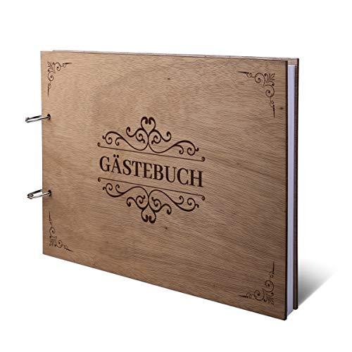Hochzeit Gästebuch Okoume Holz Lasergravur Holzcover 144 Naturpapier Innenseiten DIN A4 quer 302 x 215 mm - Viktorianisch
