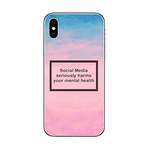 Colorful Dream- Social Media Seriously Harms Your Mental Health Phone Case for iPhone X Xr Xs Max 8 7 6 6S 5 Plus Soft Silicone TPU Capa,8,for iPhone X