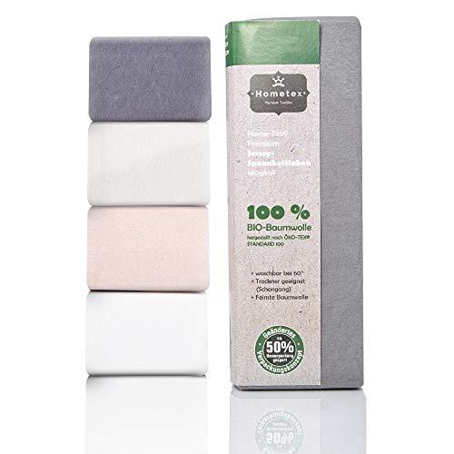 Hometex Premium Textiles Bio Spannbettlaken Spannbetttuch bis 25 cm Steghöhe | Bettlaken aus 100% Bio-Baumwolle 140g/m² - PREMIUMQUALITÄT ÖKO-TEX Standard...