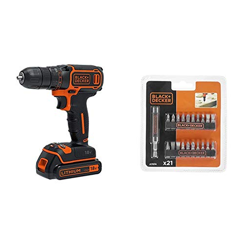 BLACK+DECKER 18 V Cordless Electric Drill Driver with 10 Torque Settings, 1.5 Ah Lithium-Ion, BDCDC18-GB & B/DA7074 Screwdriver Set - 21 Piece
