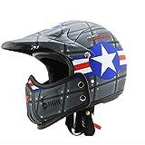 Mdder Retro Motocross Helm Retro Cafe Racer Full Face Casco Moto Modularer Moto Helm Ultraleicht und einfach zu tragen - 4X M