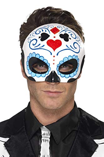Smiffys Herren Tag der Toten Halbe Augenmaske, One Size, Blue, 44648