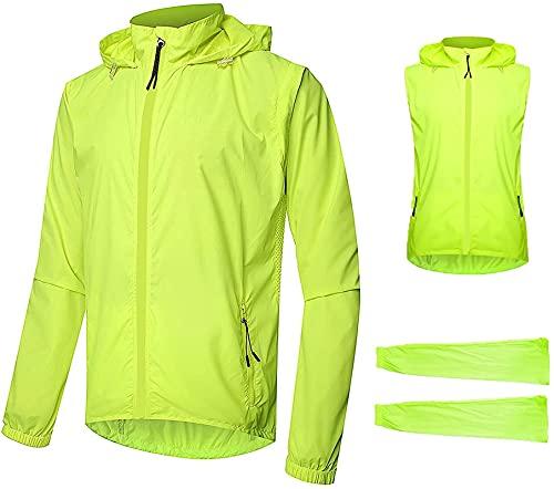 ZYW Chaqueta de ciclismo para hombre, impermeable, transpirable, para verano, con mangas desmontables, reflectante, con capucha, chaqueta deportiva XXL