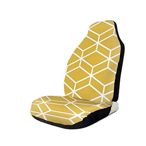 NIET Honingraat Geometrische rooster In wit en licht mosterd geel gooien kussen Automobile Full-size bedrukte Seat Cover is eenvoudig te installeren1PCS